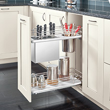 Base cabinet with a knife holder pullout