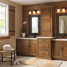 Whittington brown bathroom cabinets in Cherry Tuscan Black