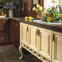 Paxson cabinets with a handcrafted aesthetic