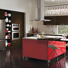 Calvi kitchen with colorful red kitchen island