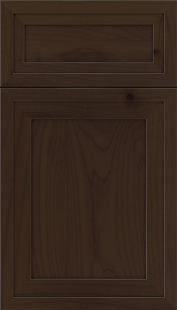 Asher 5pc Alder flat panel cabinet door in Cappuccino with Black glaze