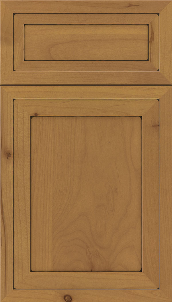 Asher 5pc Alder flat panel cabinet door in Ginger with Black glaze