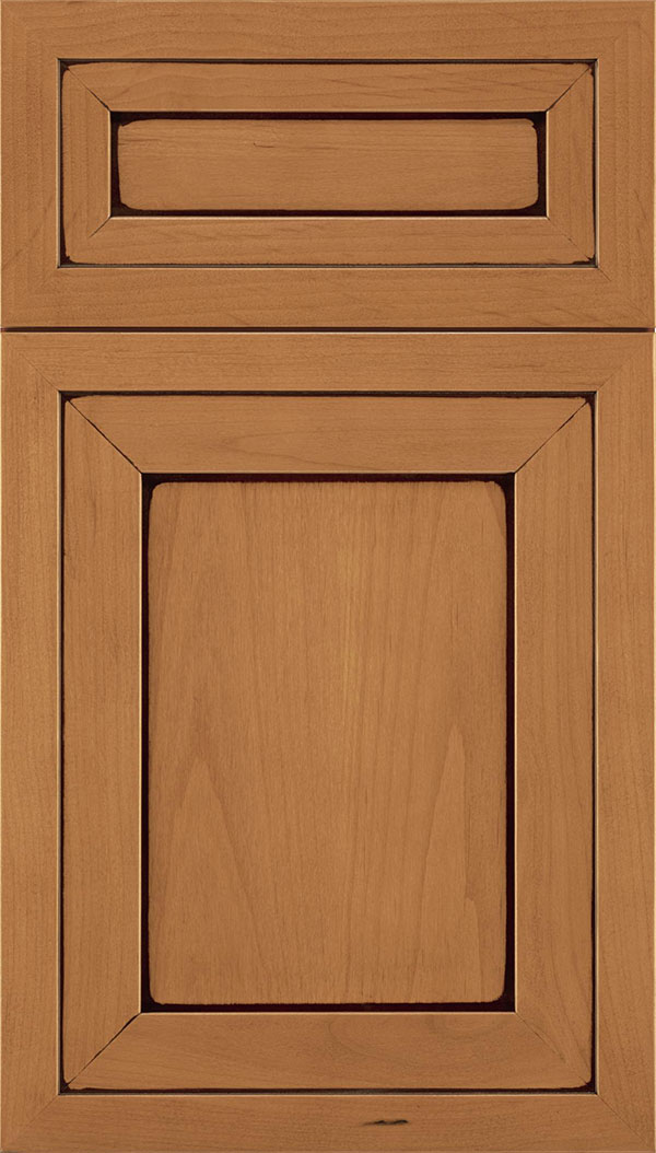 Asher 5-Piece Alder flat panel cabinet door in Ginger with Mocha glaze