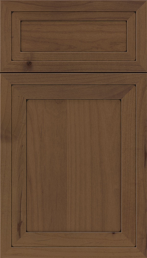 Asher 5pc Alder flat panel cabinet door in Sienna with Black glaze