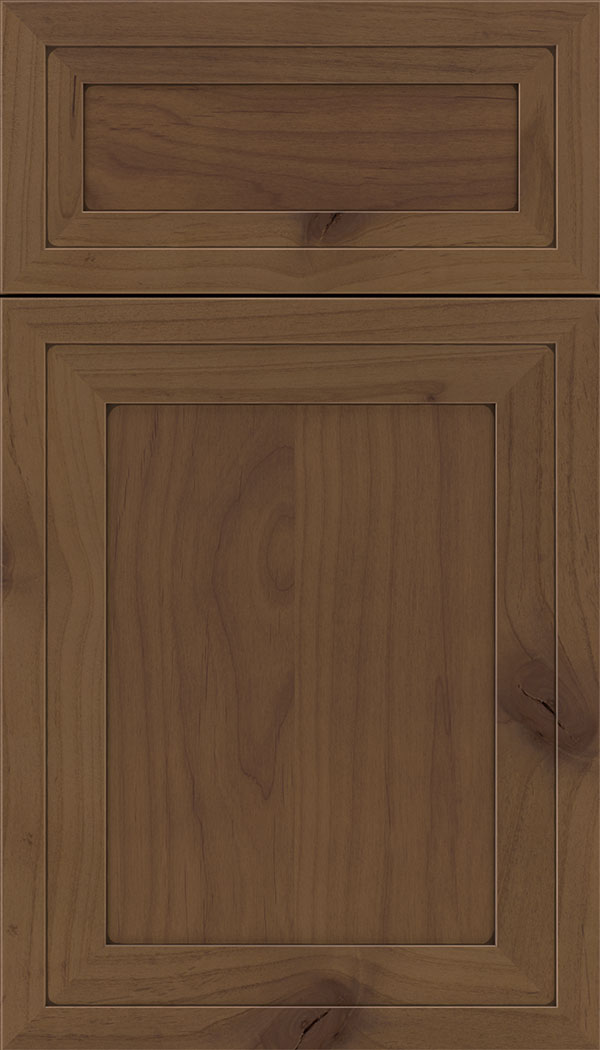 Asher 5pc Alder flat panel cabinet door in Sienna with Mocha glaze
