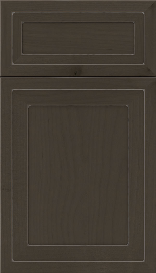Asher 5pc Alder flat panel cabinet door in Thunder with Pewter glaze