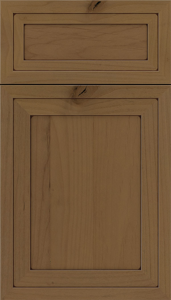 Asher 5pc Alder flat panel cabinet door in Tuscan with Mocha glaze