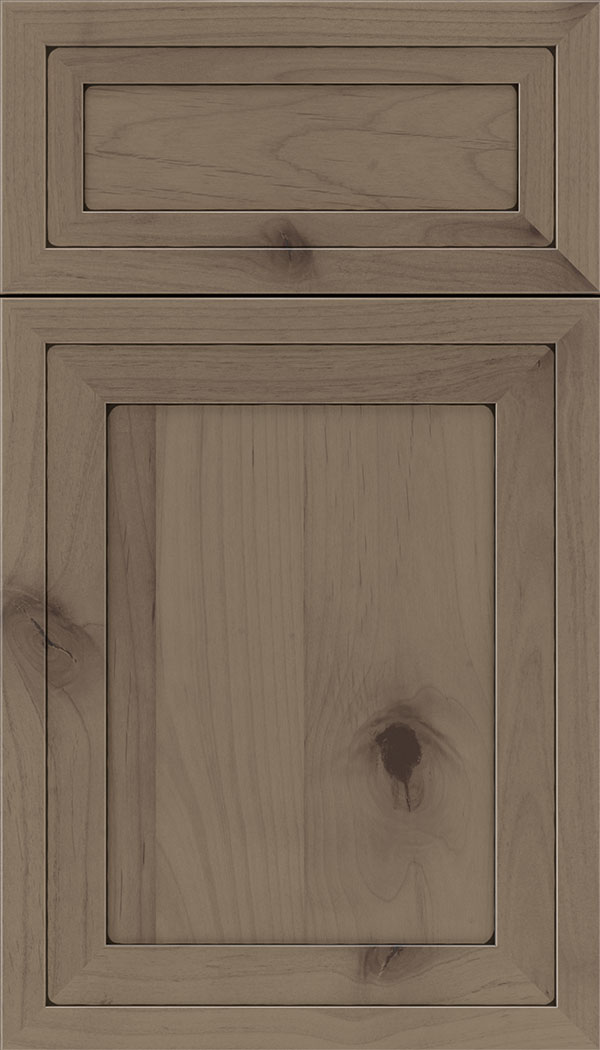 Asher 5pc Alder flat panel cabinet door in Winter with Black glaze