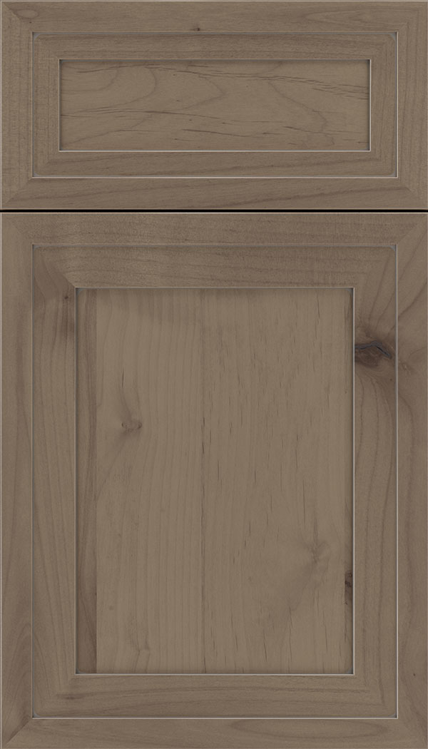 Asher 5pc Alder flat panel cabinet door in Winter with Pewter glaze