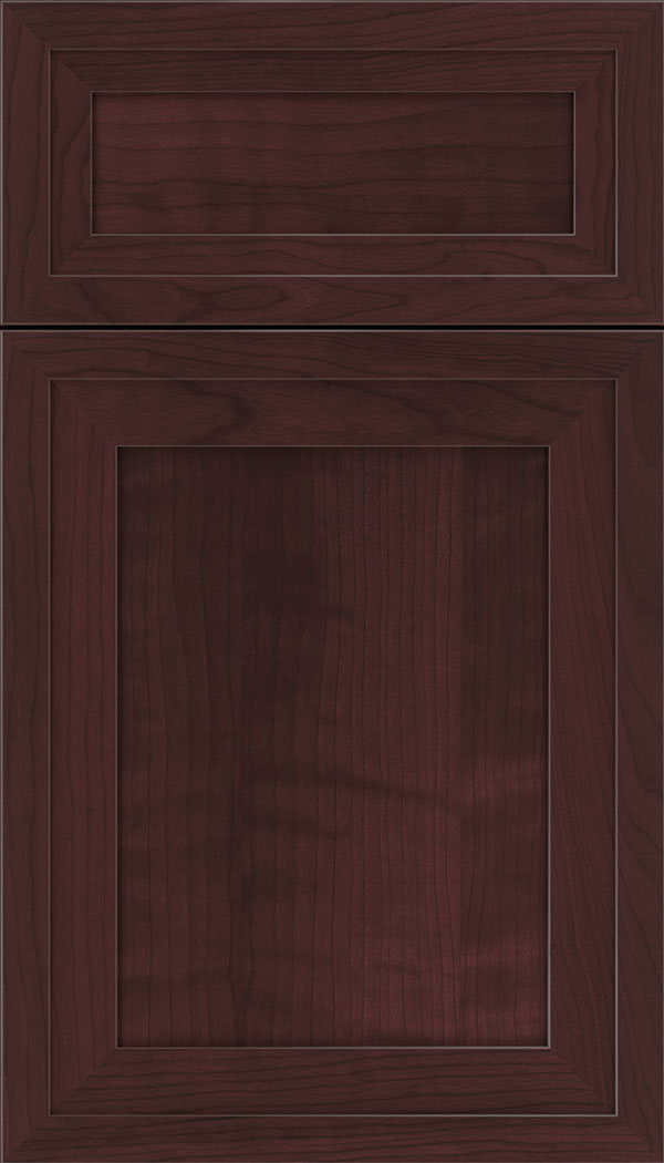 Asher 5pc Cherry flat panel cabinet door in Bordeaux