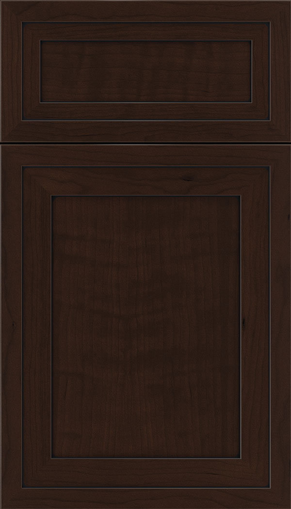 Asher 5pc Cherry flat panel cabinet door in Cappuccino with Black glaze
