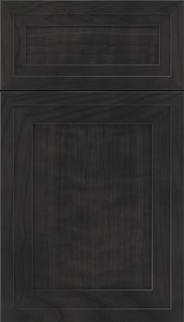 Asher 5pc Cherry flat panel cabinet door in Charcoal