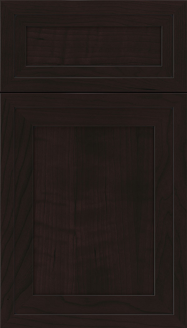 Asher 5pc Cherry flat panel cabinet door in Espresso with Black glaze