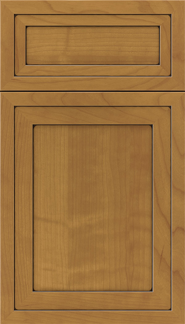 Asher 5pc Cherry flat panel cabinet door in Ginger with Black glaze