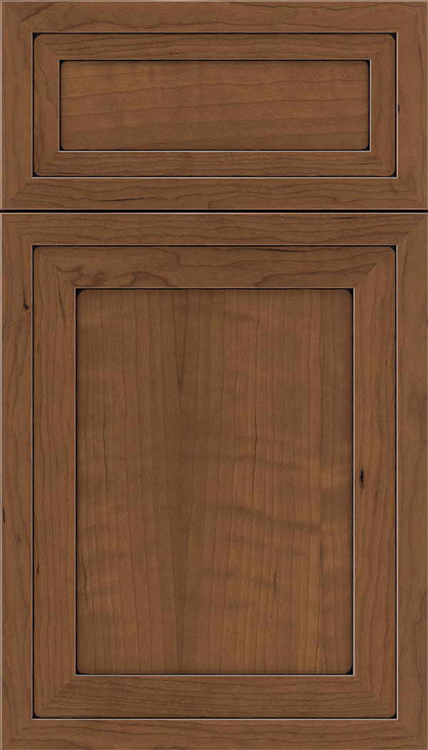 Asher 5pc Cherry flat panel cabinet door in Nutmeg with Black glaze