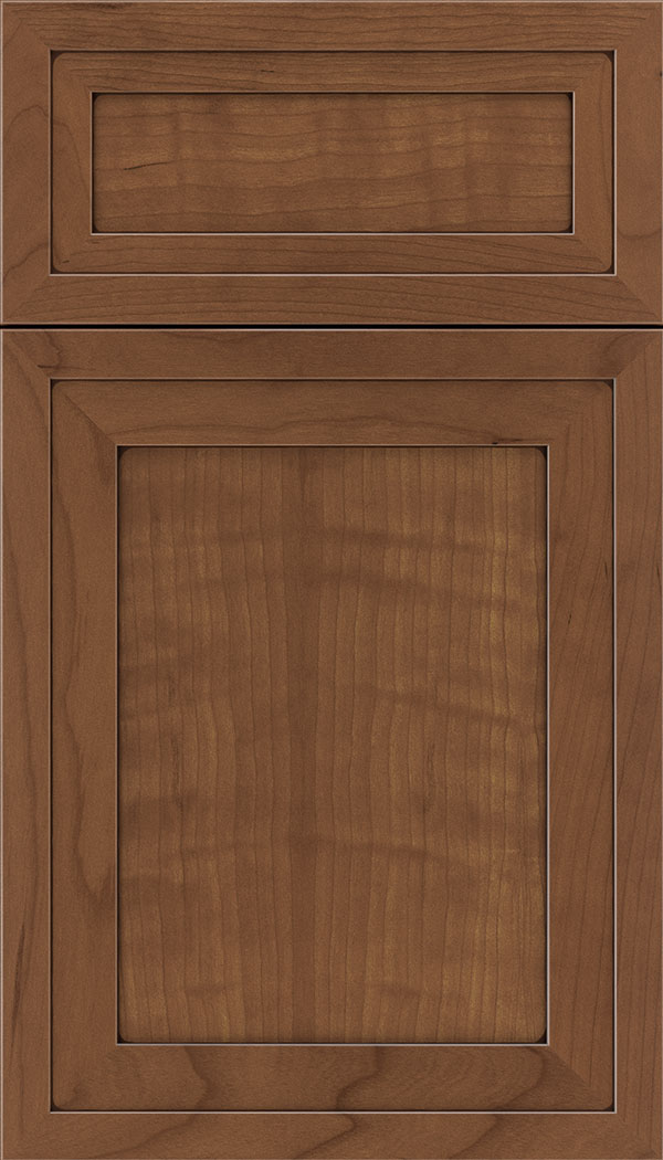 Asher 5pc Cherry flat panel cabinet door in Nutmeg with Mocha glaze