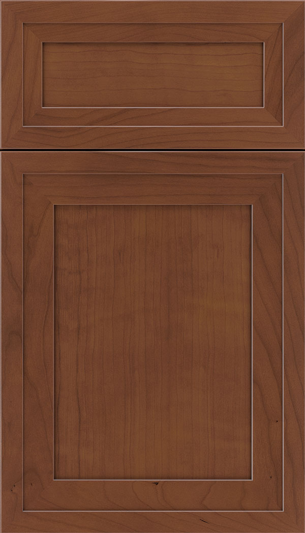 Asher 5pc Cherry flat panel cabinet door in Russet