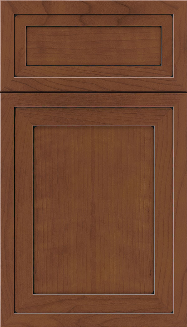 Asher 5pc Cherry flat panel cabinet door in Russet with Black glaze