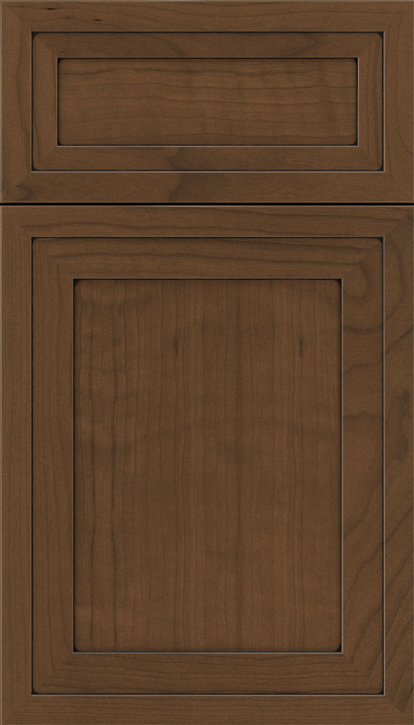 Asher 5pc Cherry flat panel cabinet door in Sienna with Black glaze