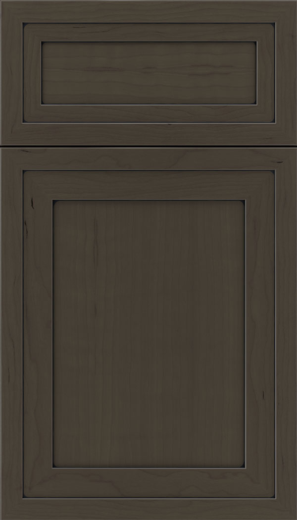 Asher 5pc Cherry flat panel cabinet door in Thunder with Black glaze