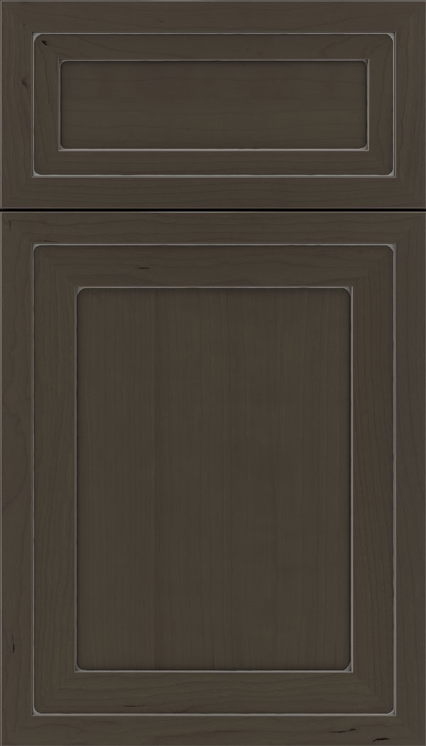 Asher 5pc Cherry flat panel cabinet door in Thunder with Pewter glaze