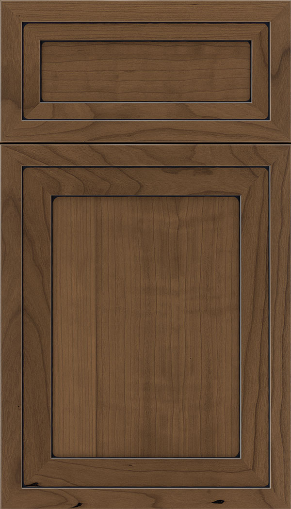Asher 5pc Cherry flat panel cabinet door in Toffee with Black glaze