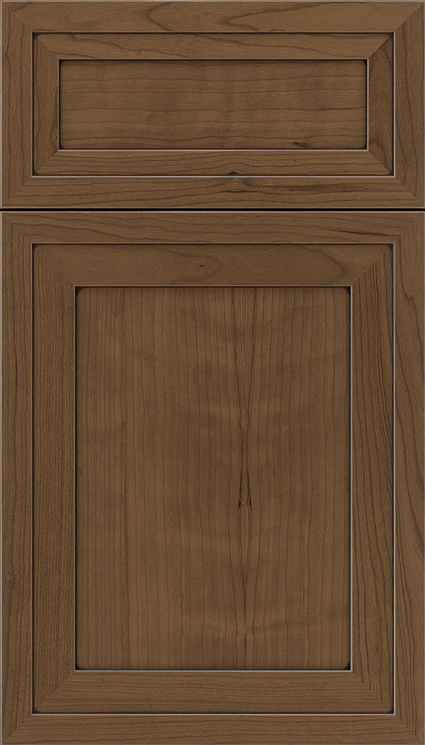 Asher 5pc Cherry flat panel cabinet door in Toffee with Mocha glaze