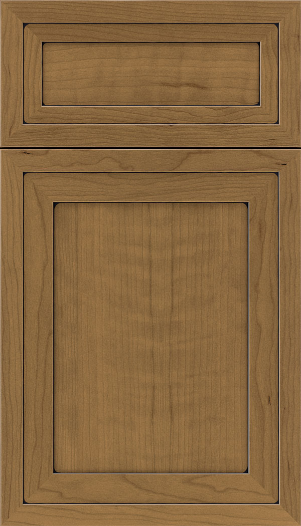 Asher 5pc Cherry flat panel cabinet door in Tuscan Black