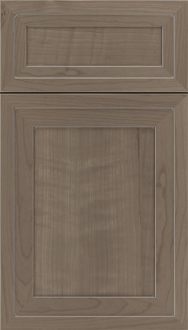 Asher 5pc Cherry flat panel cabinet door in Winter with Pewter glaze