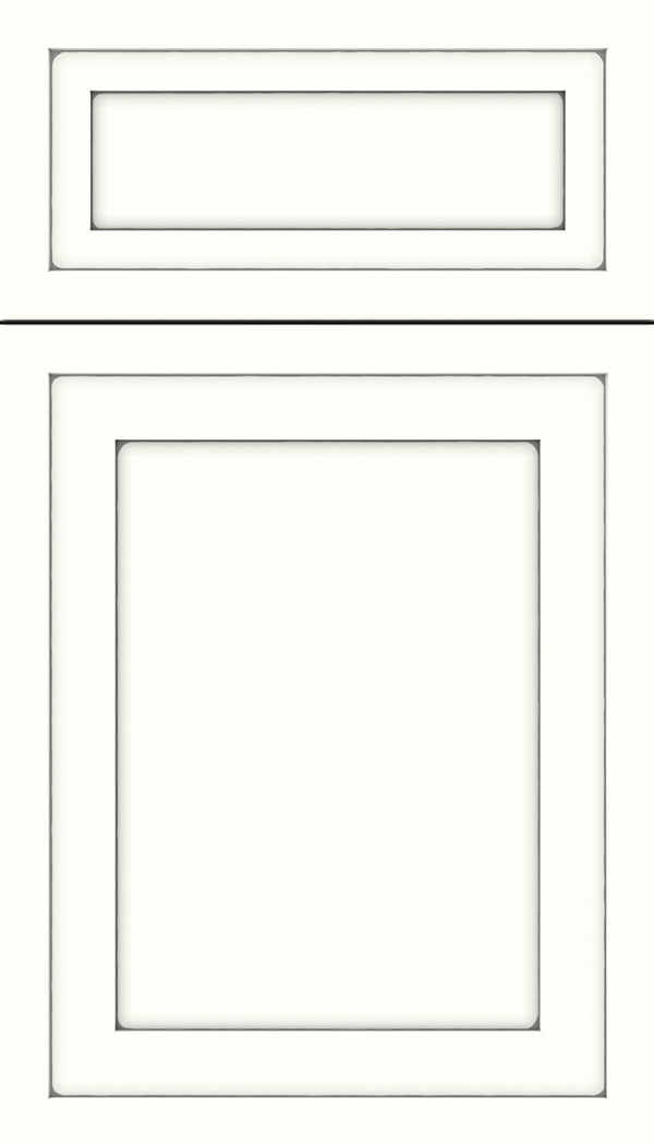 Asher 5pc Maple flat panel cabinet door in Alabaster with Pewter glaze