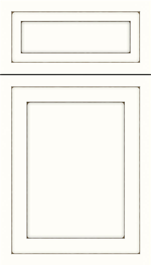 Asher 5pc Maple flat panel cabinet door in Alabaster with Smoke glaze