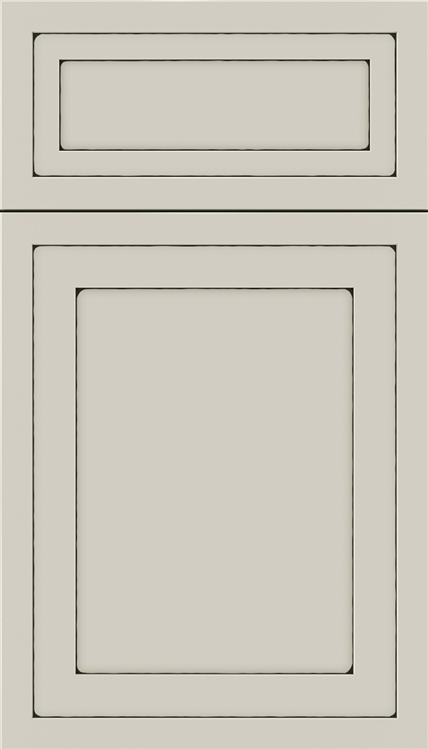 Asher 5pc Maple flat panel cabinet door in Cirrus with Black glaze