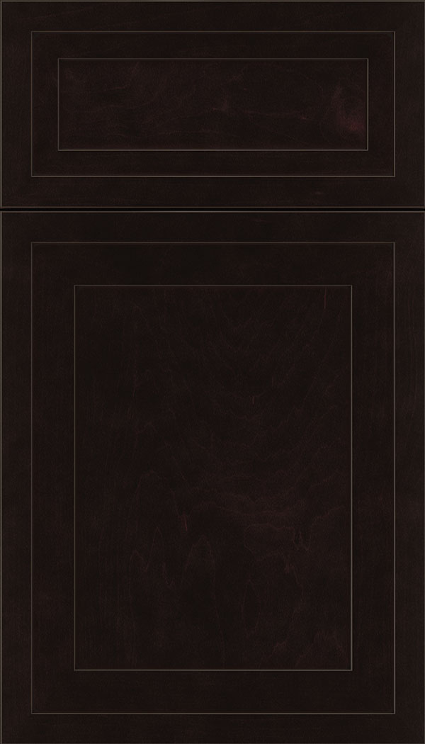 Asher 5pc Maple flat panel cabinet door in Espresso with Black glaze