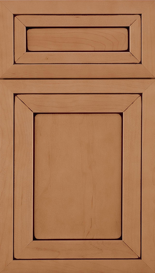 Asher 5-Piece Maple flat panel cabinet door in Ginger with Mocha glaze