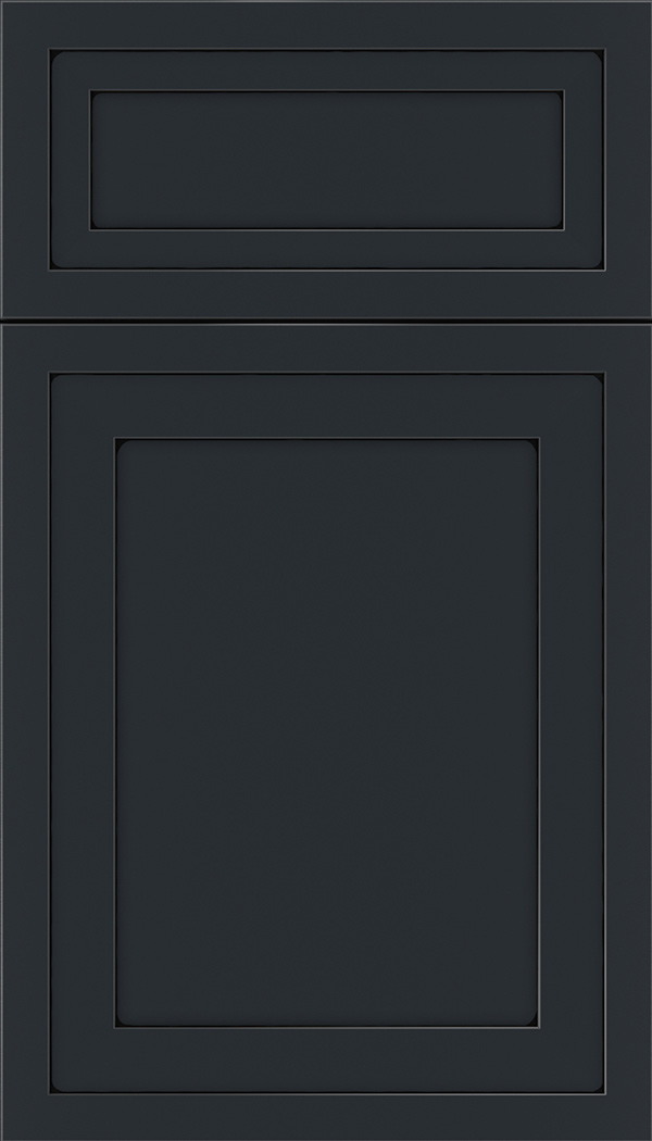 Asher 5pc Maple flat panel cabinet door in Gunmetal Blue with Black glaze