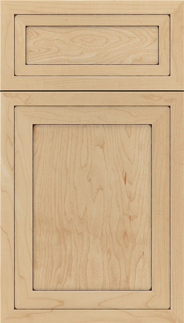 Asher 5pc Maple flat panel cabinet door in Natural with Mocha glaze