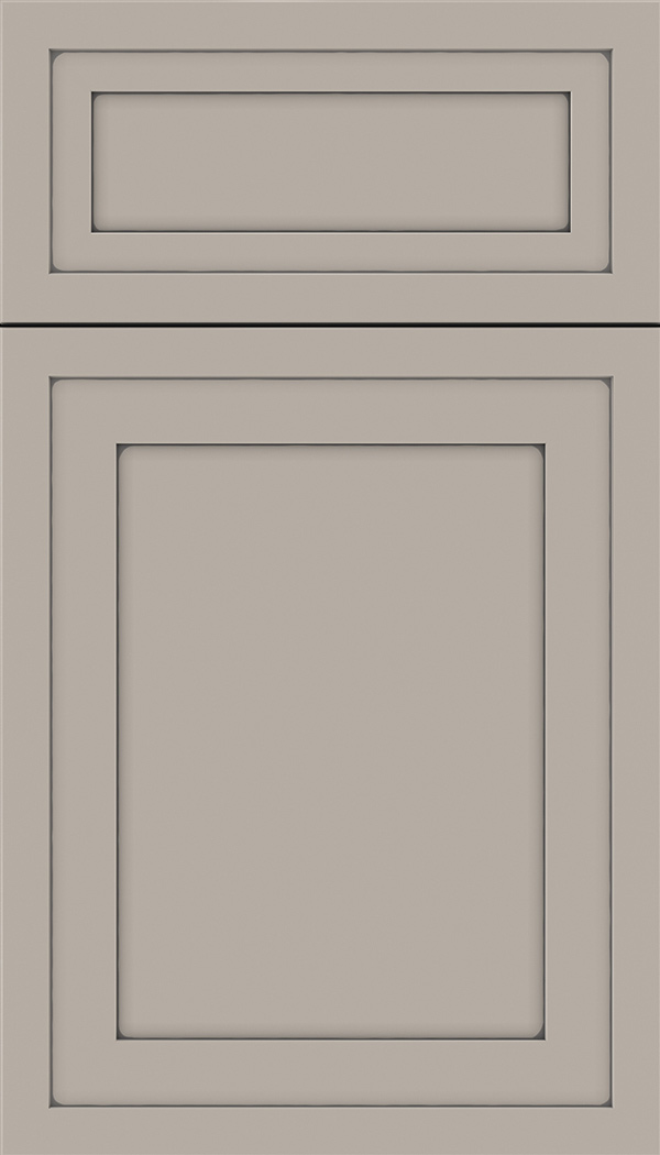 Asher 5pc Maple flat panel cabinet door in Nimbus with Pewter glaze