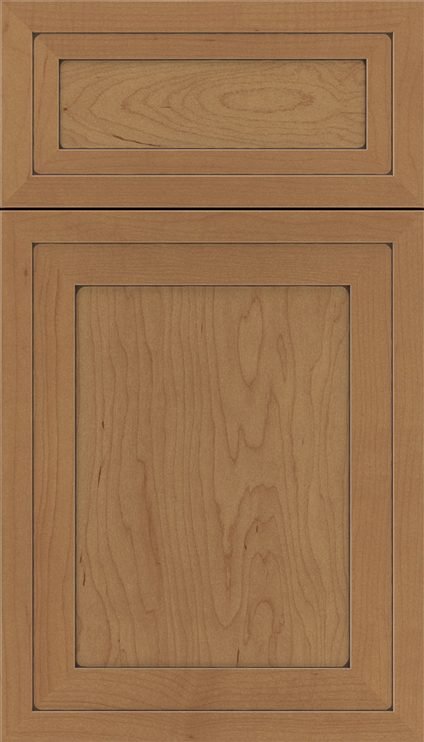 Asher 5pc Maple flat panel cabinet door in Nutmeg with Mocha glaze