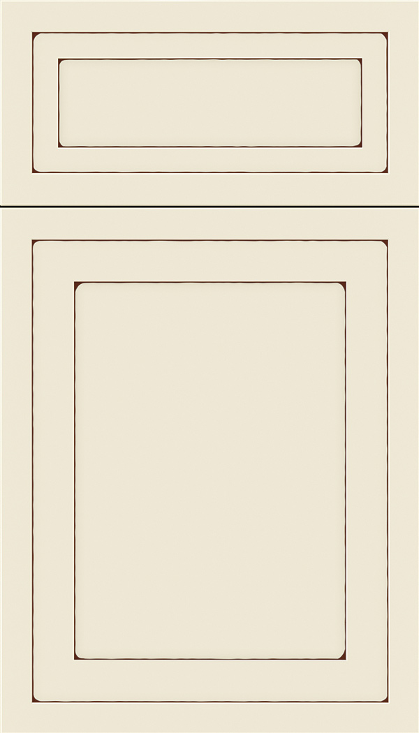 Asher 5pc Maple flat panel cabinet door in Seashell with Mocha glaze