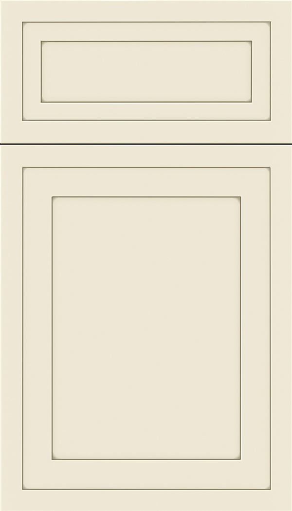 Asher 5pc Maple flat panel cabinet door in Seashell with Smoke glaze