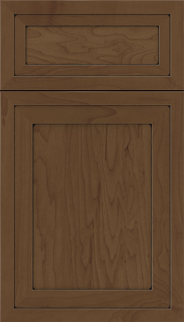 Asher 5pc Maple flat panel cabinet door in Sienna with Black glaze