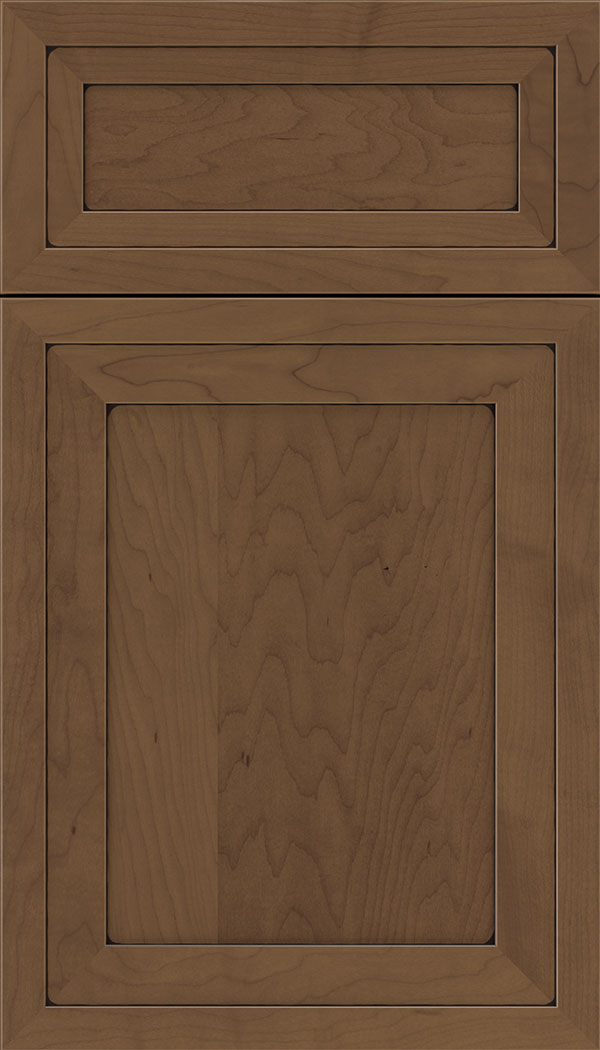 Asher 5pc Maple flat panel cabinet door in Toffee with Black glaze