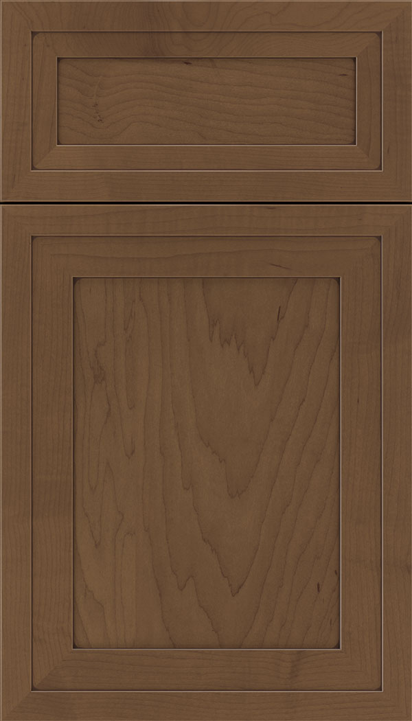 Asher 5pc Maple flat panel cabinet door in Toffee with Mocha glaze