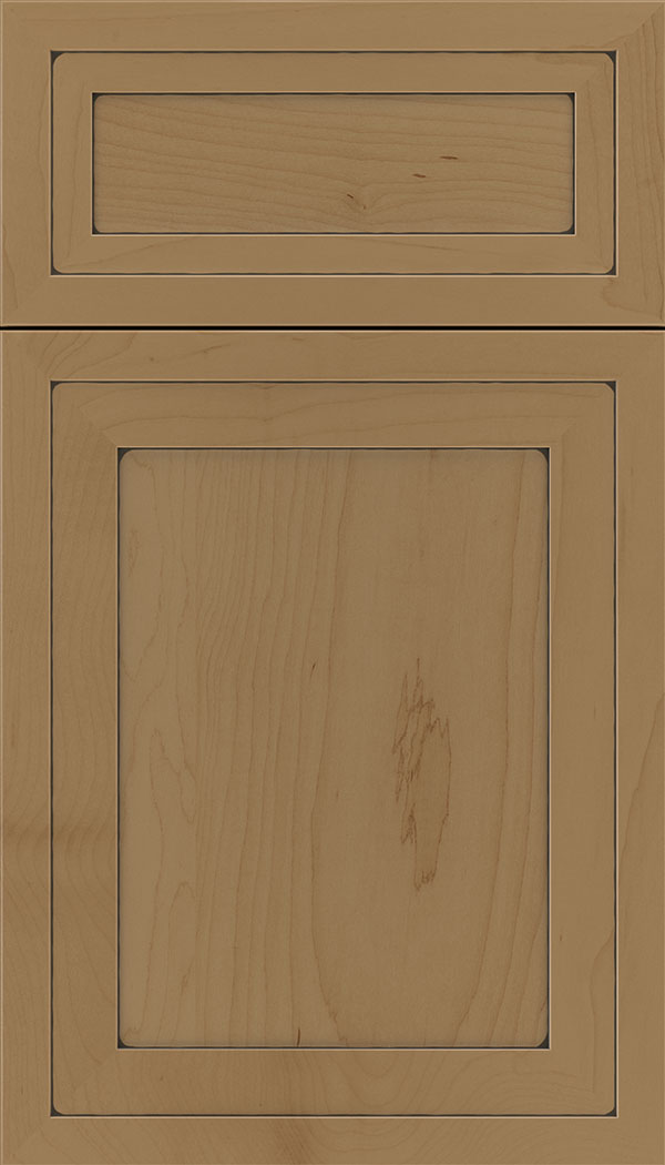 Asher 5pc Maple flat panel cabinet door in Tuscan with Black glaze