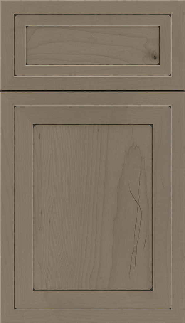 Asher 5pc Maple flat panel cabinet door in Winter with Black glaze