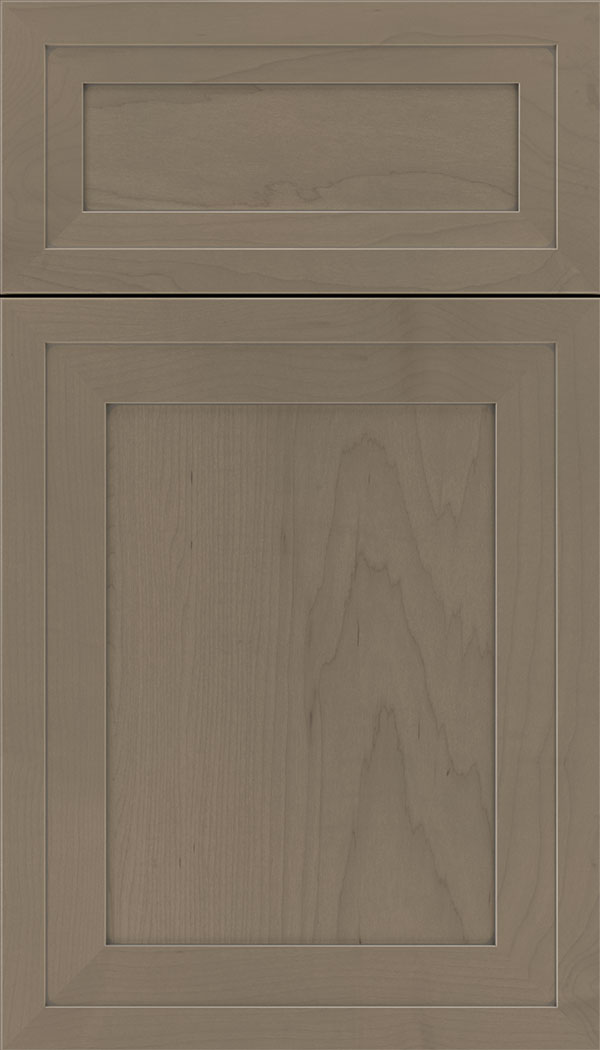 Asher 5pc Maple flat panel cabinet door in Winter with Pewter glaze