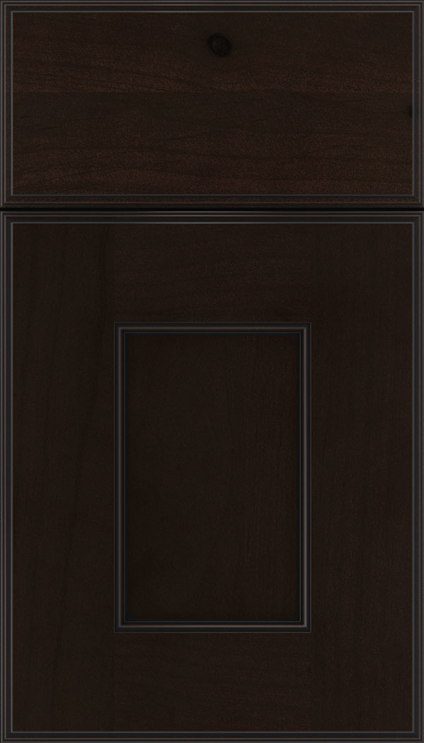 Berkeley Alder flat panel cabinet door in Espresso with Black glaze