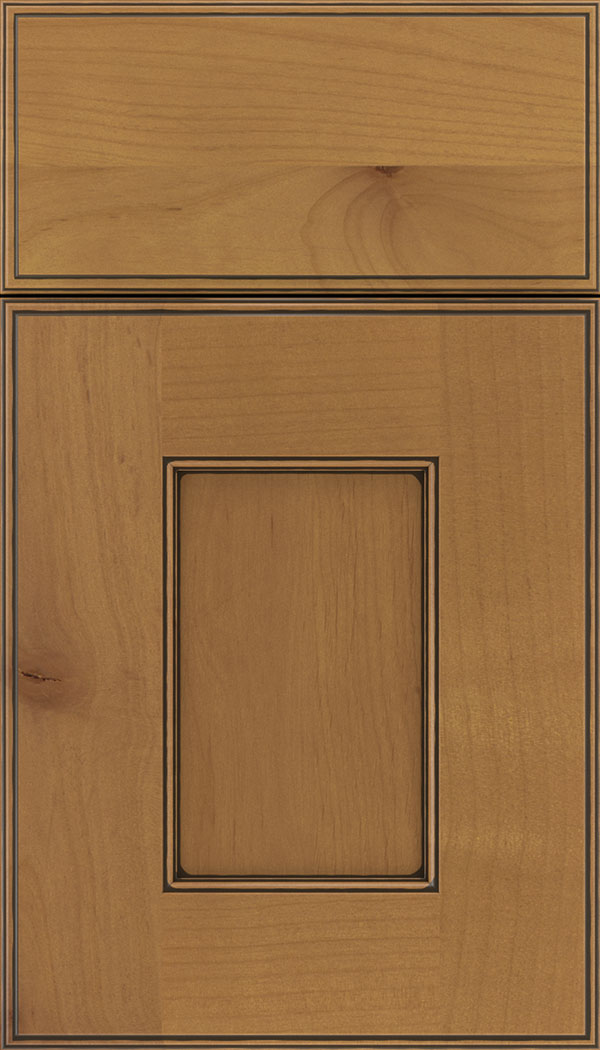 Berkeley Alder flat panel cabinet door in Ginger with Black glaze