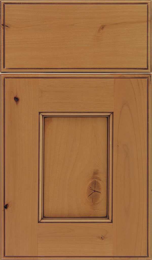 Berkeley Alder flat panel cabinet door in Ginger with Mocha glaze