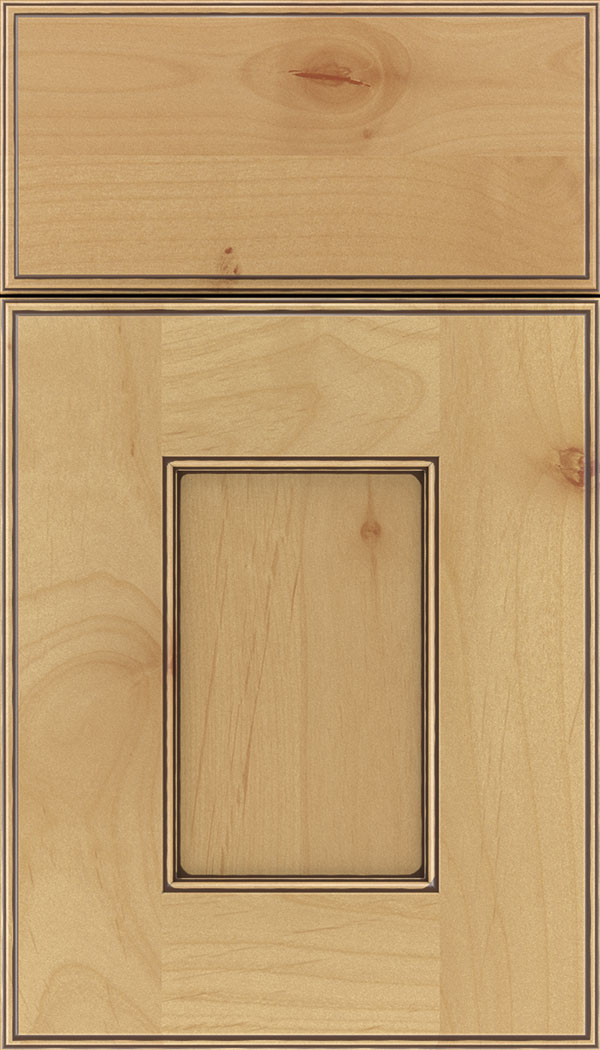 Berkeley Alder flat panel cabinet door in Natural with Mocha glaze